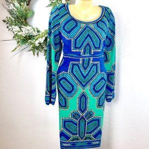 Rena Rowen geometric vivid print dress